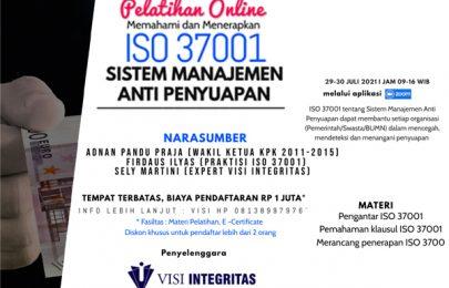 Agar Jangkau Lebih Luas, Visi Integritas Selenggarakan Pelatihan ISO 37001