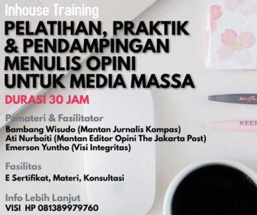 Banyak yang Tembus ke Media, Visi Integritas Kembali Gelar Pelatihan Penulisan Opini