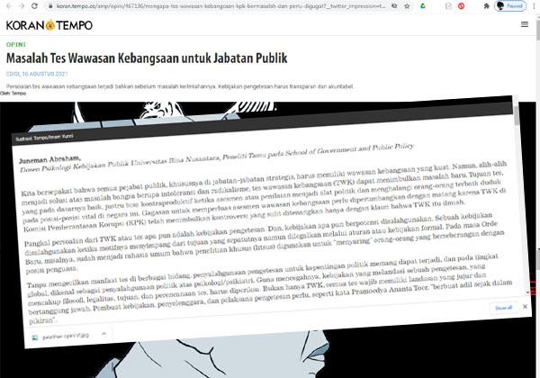 Soroti TWK, Tulisan Juneman Abraham Tembus Koran Tempo